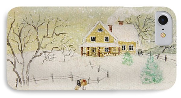 Winter Painting Of House With Mailbox/ Digitally Altered IPhone Case by Sandra Cunningham