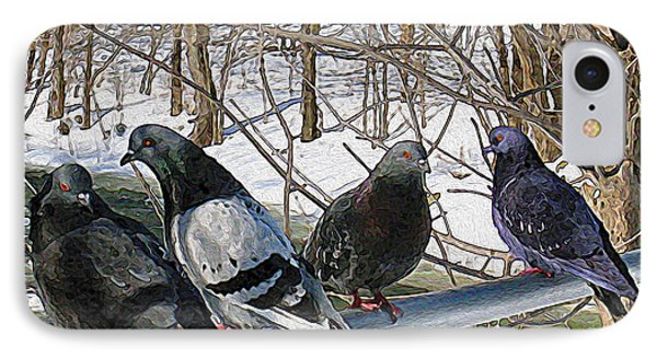 Winter Pigeon Party IPhone Case by Nina Silver