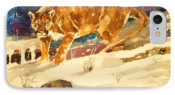 IPhone Case featuring the painting Winter Prowl by Al Brown