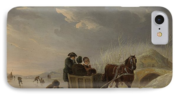 Winter Scene, Horse-sleigh On The Ice, Andries Vermeulen IPhone Case by Litz Collection