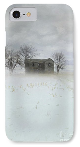Winter Scene Of A Farmhouse/digital Painting IPhone Case by Sandra Cunningham