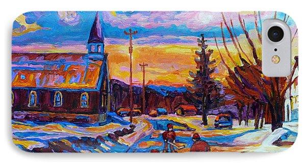 Winter Scene Painting-hockey Game In The Village-rural Hockey Scene IPhone Case by Carole Spandau