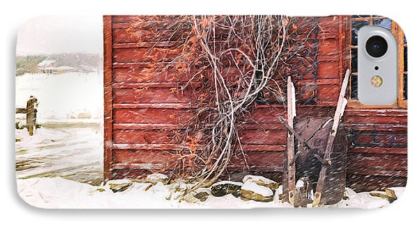 Winter Scene With Barn And Wheelbarrow/ Digital Painting  IPhone Case by Sandra Cunningham