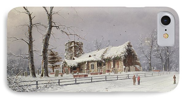 Winter Scene With Figures On A Path Near A Church IPhone Case by Nils Hans Christiansen