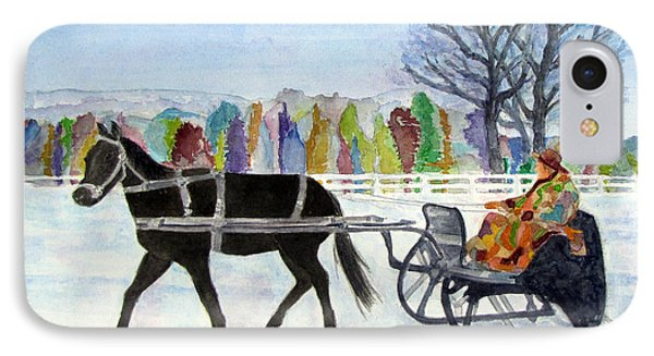 IPhone Case featuring the painting Winter Sleigh Ride by Carol Flagg