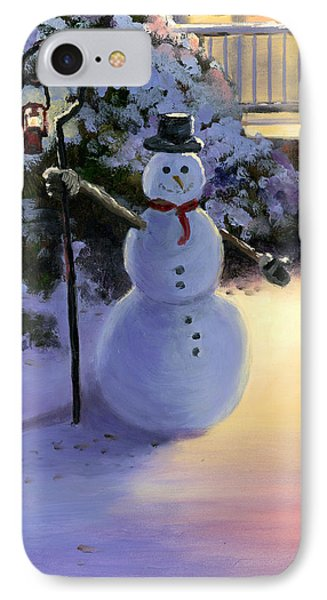 Winter Snow Man IPhone Case by Cecilia Brendel