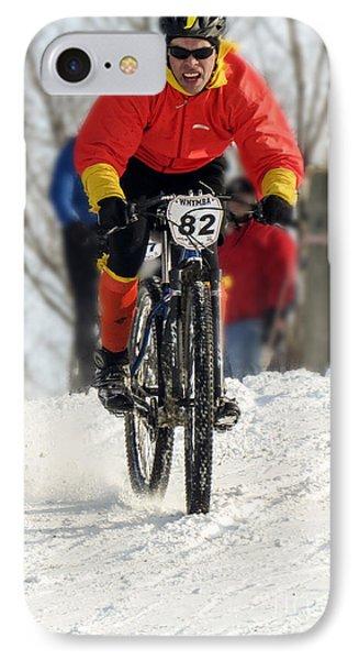 Winter Snow Mountain Bike Race Phone Case by Darleen Stry