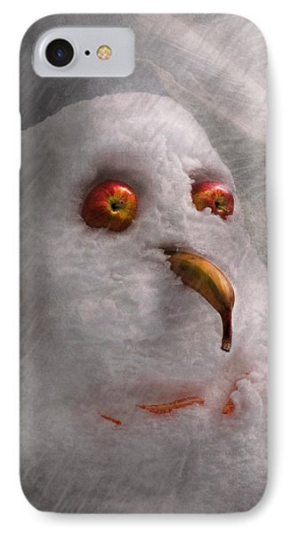 Winter - Snowman - What Are You Looking At Phone Case by Mike Savad