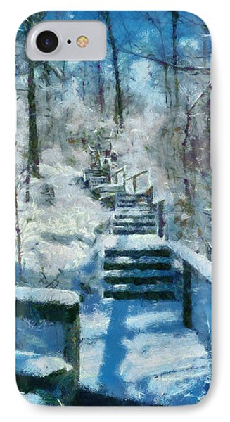 Winter Stairway IPhone Case by Michelle Calkins