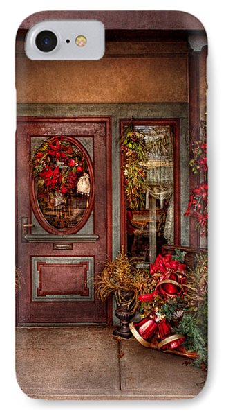 Winter - Store - Metuchen Nj - Dressed For The Holidays Phone Case by Mike Savad
