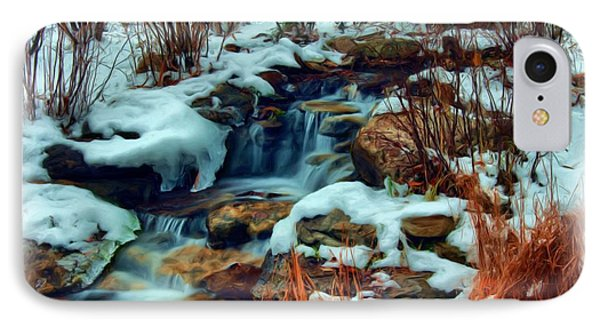 IPhone Case featuring the digital art Winter Stream by Dennis Lundell