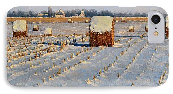 Winter Stubble Bales Phone Case by Bruce Morrison