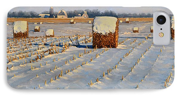 Winter Stubble Bales IPhone Case by Bruce Morrison