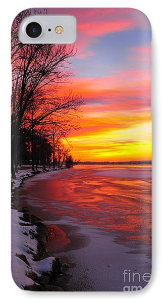 IPhone Case featuring the photograph Winter Sunrise On Lake Cadillac by Terri Gostola