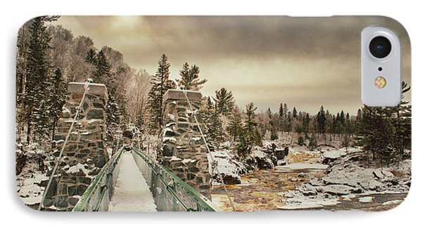 Winter Sunrise Over A Swinging Bridge IPhone Case by Mark David Zahn