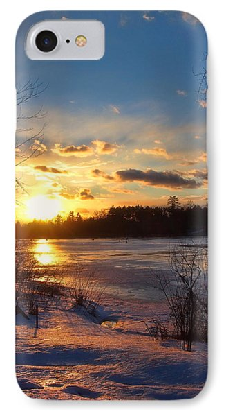 Winter Sunset Holiday Card 3 IPhone Case by Joann Vitali