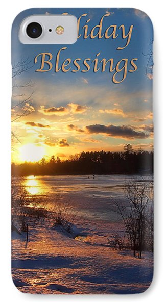Winter Sunset Holiday Card IPhone Case by Joann Vitali