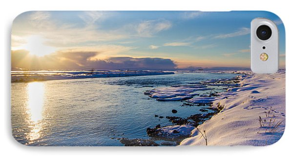 Winter Sunset In Iceland IPhone Case by Peta Thames