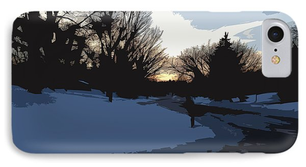 IPhone Case featuring the digital art Winter Sunset by Kirt Tisdale
