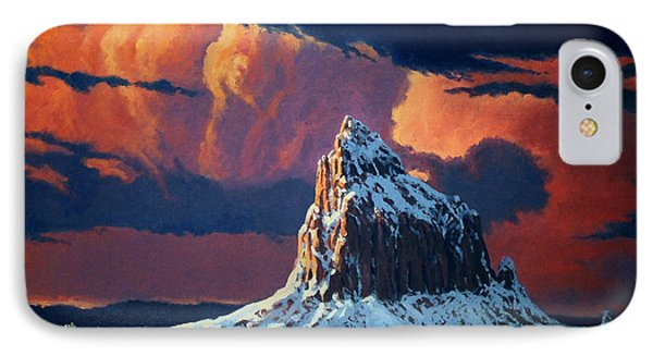Winter Sunset Over Shiprock IPhone Case by Randy Follis