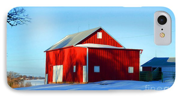 Winter Time Barn In Snow Phone Case by Luther Fine Art