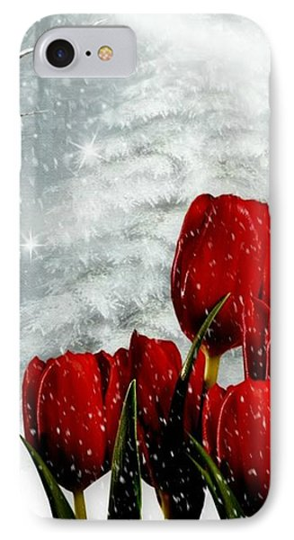 IPhone Case featuring the mixed media Winter Tulips by Morag Bates