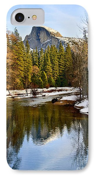 Winter View Of Half Dome In Yosemite National Park. Phone Case by Jamie Pham