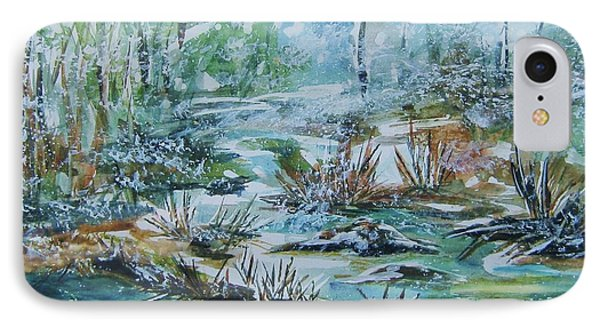IPhone Case featuring the painting Winter Whispers On Catskill Creek by Ellen Levinson