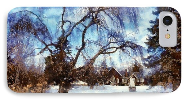 IPhone Case featuring the photograph Winter Willow In Mountainhome - Church by Janine Riley