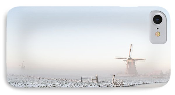 Winter Windmill Landscape In Holland IPhone Case by IPics Photography