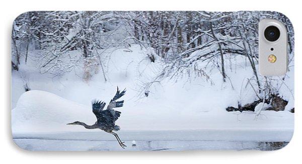 Wintering Heron In Flight IPhone Case by Roger Bailey