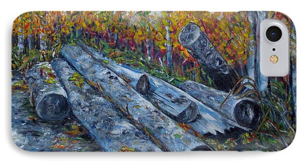 IPhone Case featuring the painting Winter's Firewood by Marilyn  McNish