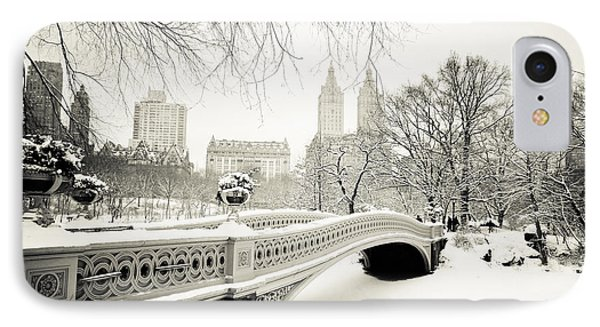Winter's Touch - Bow Bridge - Central Park - New York City IPhone Case by Vivienne Gucwa