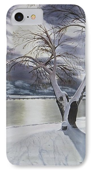 IPhone Case featuring the painting Winter's Whisper by Bonnie Heather