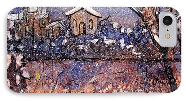IPhone Case featuring the painting Winterscene Reflections by Gretchen Allen