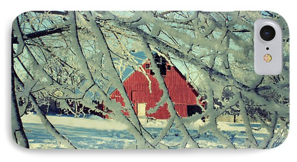 Wintery Red Barn Phone Case by Julie Hamilton