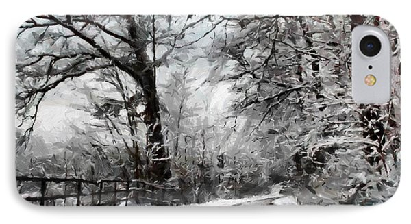 IPhone Case featuring the digital art Wintery Road by Kai Saarto