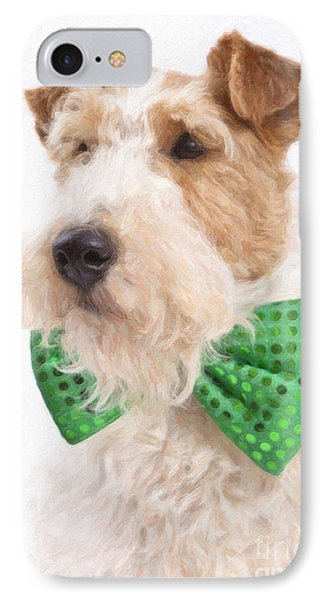 Wire Fox Terrier With Bowtie IPhone Case by Verena Matthew