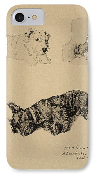 Wire-haired Terrier, Aberdeen And West IPhone Case by Cecil Charles Windsor Aldin