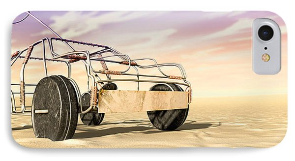 Wire Toy Car In The Desert Perspective IPhone Case by Allan Swart
