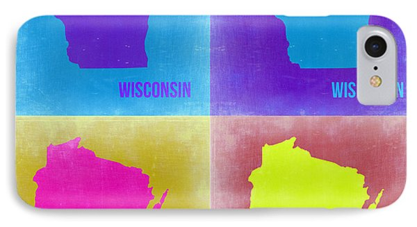 Wisconsin Pop Art Map 3 Phone Case by Naxart Studio
