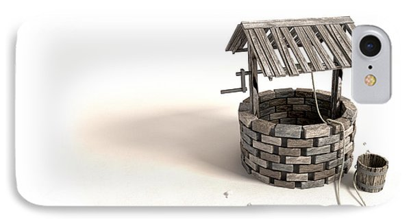 Wishing Well With Wooden Bucket And Rope Phone Case by Allan Swart
