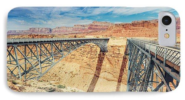 Wispy Clouds Over Navajo Bridge North Rim Grand Canyon Colorado River IPhone Case by Silvio Ligutti