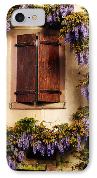 Wisteria Encircling Shutters In Riquewihr France Phone Case by Greg Matchick