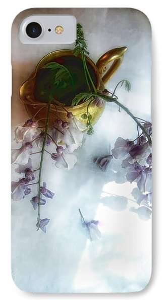 Wisteria In A Gold Pitcher Still Life IPhone Case by Louise Kumpf