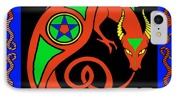 IPhone Case featuring the digital art Witches Dragon by Vagabond Folk Art - Virginia Vivier