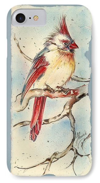 IPhone Case featuring the painting With Touches Of Red  by Anna Ewa Miarczynska