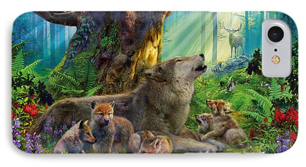 Wolf And Cubs In The Woods IPhone Case by Jan Patrik Krasny