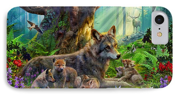 Wolf And Cubs IPhone Case by Jan Patrik Krasny