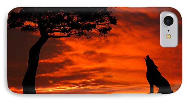 Wolf Calling For Mate Sunset Silhouette Series IPhone Case by David Dehner